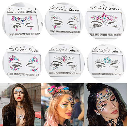6 Sets Women Mermaid Face Gems Glitter,Rhinestone Rave
