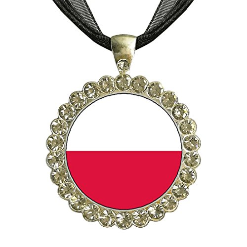 GiftJewelryShop Silver Plate Poland flag White Crystal Charm Pendant Necklace (Poland Pendant Crystal)