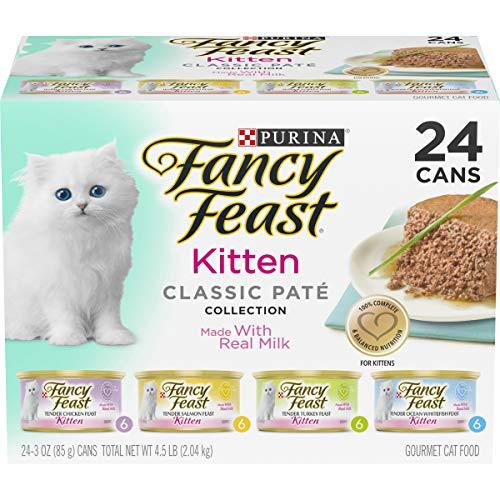 Purina Fancy Feast Grain Free Kitten Food Variety Pack, Classic Kitten Food Pate Collection, 4 flavors – (24) 3 oz…