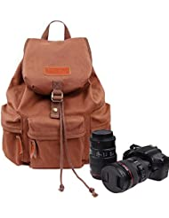 Zebella Waterproof Canvas Backpack Travel Daypack Hiking SLR DSLR Camera Bag 32L