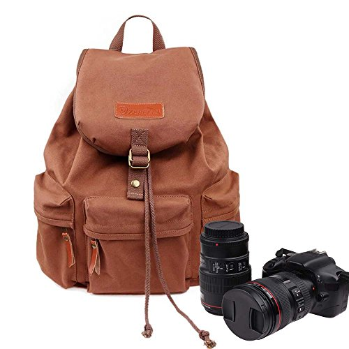 Zebella Waterproof Canvas Backpack Travel Daypack Hiking SLR DSLR Camera Bag 32L