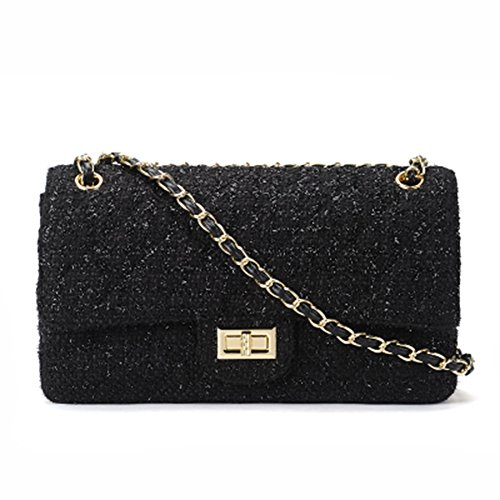 Luxury Ladies Corssbody Black Flap Bags Mini 20 Chain Plaid Quilted Tweed Shoulder Handbag Bag Women Gmyandjb wgIqTI
