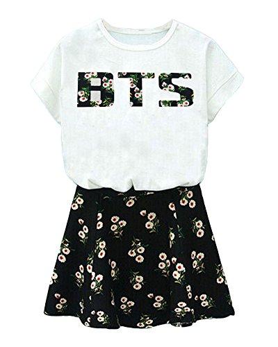 BTS Printed T-Shirt + Floral Skirt Suit J-Hope Suga Jin Jimin Jung Kook Dress S