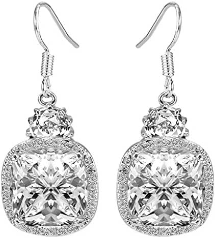 EleQueen Women's Silver-tone Cubic Zirconia Square Bridal Pierced Dangle Earrings Clear
