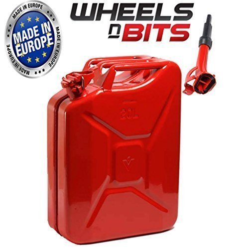 20L Litre RED JERRY MILITARY CAN FUEL OIL WATER PETROL DIESEL RED BLUE GREEN WITH SPOUT Wheels N Bits