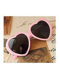 Cute Oversized Heart-Shaped Plastic Frame Retro Sunglasses Eyeglasses(Pink)