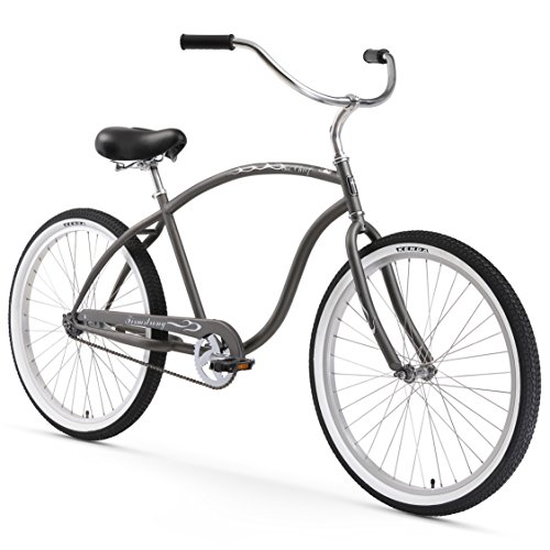 Firmstrong Chief Man Single Speed Beach Cruiser Bicycle, 26-Inch, Matte Grey - Beach Bicycle