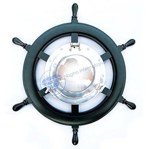 Plane Mirror | Teak Wood Nautical Ship Wheel | Antique Rope | Premium Wooden Gift | Nagina International (36 (Antique Ships Wheel)