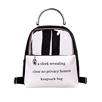 b886b1aa0ab7 Buy Women Shoulder Bag Clear Transparent Jelly Color Wild Casual Backpack  School Bag (Black) Online at Low Prices in India - Amazon.in