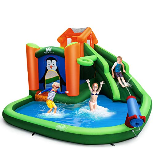 BOUNTECH-Inflatable-Water-Slide-6-in-1-Jumping-Bounce-House-w-Climbing-Wall-Splash-Pool-Water-Cannon-Basketball-Rim-Including-Oxford-Carry-Bag-Repair-Kit-Stakes-Hose-Without-Blower