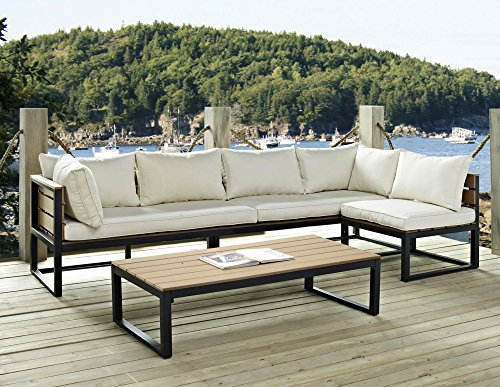 "Outdoor Patio Sectional Couch with Cushions Coffee Table Set Metal Faux Wood - Dimensions: Loveseat: 26"" H x 54"" L x 28"" W - Chair: 26"" H x 26"" L x 28"" W Table: 13"" H x 52"" L x 26"" W Set includes two sofas, coffee table and deep-seated chair - patio-furniture, patio, conversation-sets - 51pzhNUGVbL -"
