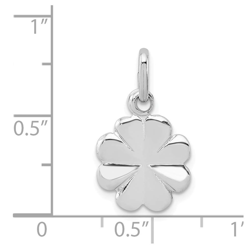 Mireval Sterling Silver Anti-Tarnish Treated Polished Clover Charm on an Optional Charm Holder