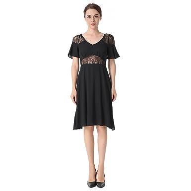 joli design apparence élégante meilleure sélection Robes pour Femmes New Pure Couleur à Manches Courtes Splice ...