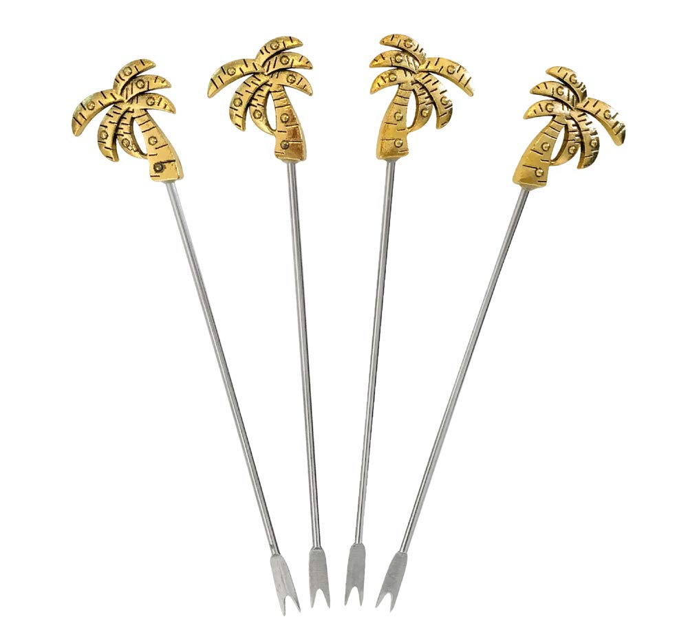 Cocktailspie/ße Palme gold 4 St/ück Bowlespie/ße Fingerfood-Spie/ße Metall