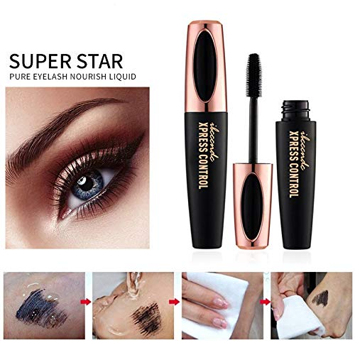 3 Pack 4D Silk Fiber Eyelash Mascara, Waterproof Fiber 4D Mascara, Luxuriously Longer Thicker, Voluminous Eyelashes, Long Lasting Charming Eye Makeup, Lasting All Day, Smudge-Proof Eyelashes