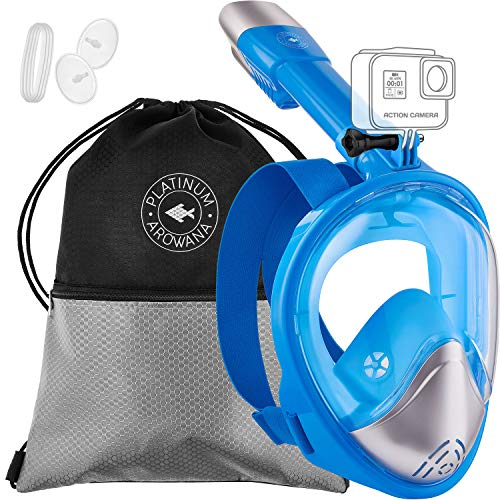 Full Face Snorkel Mask Panoramic View Shallow Dive Mask Curved Face Design Leak Proof 180 Degree Viewing Anti-Fog Anti-Leak Tubeless Scuba Mask Gear Dry Top Water Blocking System Technology Easy ()