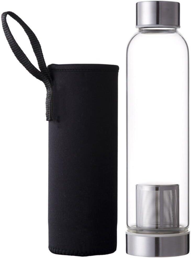 Hosaire Portable Cristal Botella con infusor de té y Protector de Funda de Nailon (Zumo de Agua Potable Filtro para Home Exterior Viaje 550 ml