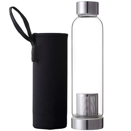 Hosaire Portable Cristal Botella con infusor de té y protector de funda de nailon (Zumo