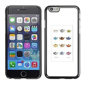 Cubierta de la caja de protección la piel dura para el Apple iPhone 6 (4.7) - teapot minimalist artistic pattern