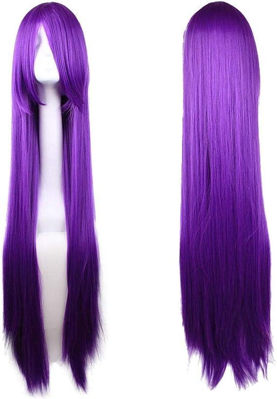 100cm encantadora peluca anime morada larga de pelo liso: Amazon.es: Belleza