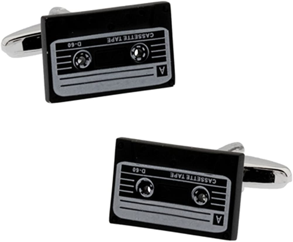 Funky Retro Black Music Cassette Tape Cufflinks Set