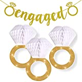 Engagement Party Decorations Bridal Shower Supplies  Honeycomb Ring Hanging Decorations,Glitter Gold Diamond Ring((3pcs),Engaged Banner Gold Glittery Letters and Diamond Ring for Party Decorations