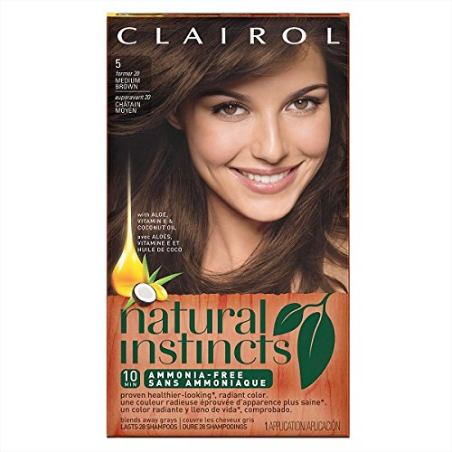 Hair Colorant Permanent (Clairol Natural Instincts Semi-Permanent Hair Color (Pack of 3), 5 Medium Brown Color, Ammonia Free, Long Lasting for 28 Shampoos (packaging may vary))