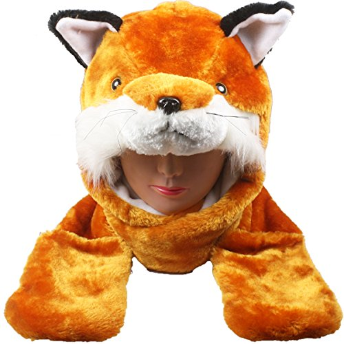 Silver Fever Plush Soft Animal Beanie Hat with Built-in Earmuffs, Scarf, Gloves (Fox) - Grey Fox Costume For Sale