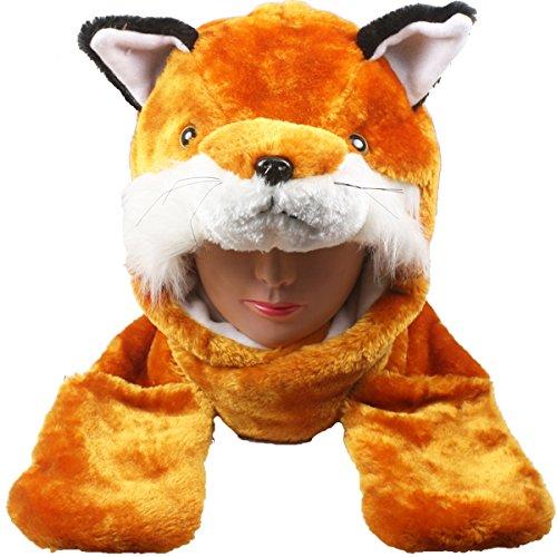 Silver Fever Plush Soft Animal Beanie Hat with Built-in Earmuffs, Scarf, Gloves (Fox) - Fox Animal Hat