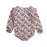 NUWFOR Infant Toddler Baby Girl Long Sleeve Print Floral Color Romper Jumpsuit Clothes(Pink,12-18Months)