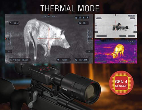 ATN Thor 4 1.25-5x, 384x288, Thermal Rifle Scope w/Ultra Sensitive Next Gen Sensor, WiFi, Image Stabilization, Range Finder, Ballistic Calculator and iOS and Android Apps