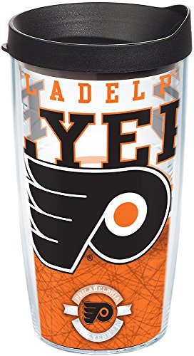 (Tervis 1164784 NHL Philadelphia Flyers Core Tumbler with Wrap and Black Lid 16oz, Clear)
