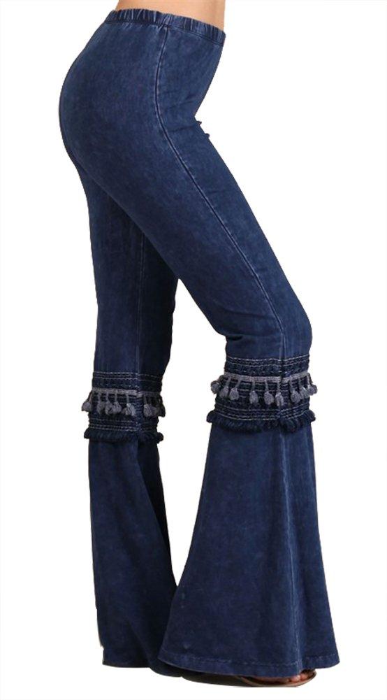 Chatoyant Women's Tassel Bell Bottom Stretch Yoga Pants (Small, Dark Denim Blue) by Chatoyant (Image #1)