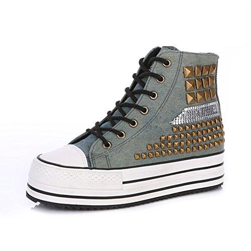 Caída de lona zapatos de las mujeres/Zapatos ocasionales del remache mayor/Gao Banghou la torta con el estudiante al final de zapatos de mujer A