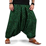 THS Mens Womens Boho Hippie Baggy Cotton Harem Pants with Pockets - Spiral Design