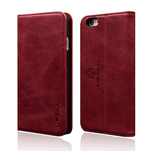 - iPhone 6 Plus, iPhone 6S Plus Wallet Case,VISOUL [Genuine Leather Wallet][Slim Fit] Classic Folio Book Luxury Case Cover with Stand&Card Slots for iPhone 6 Plus/6S Plus(5.5 inch) (Classic Red)