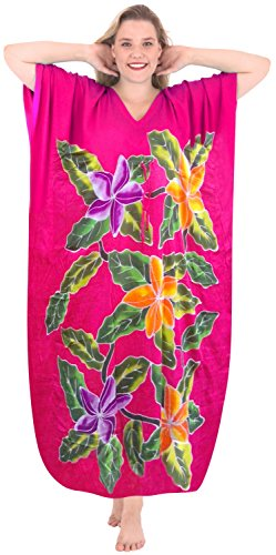 LA LEELA Rayon Printed Maxi Beach Wear Cruise Caftan Gown Pink 244 One Size - Drawstring Gown