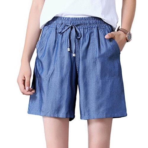 (Chartou Women's Stylish Drawstring Elastic Waist Lightweight Tencel Bermuda Denim Shorts Jeans (Navy, Large))