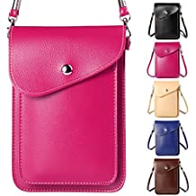 ZZJ Women's PU Leather Wallet Case Purse w/ Shoulder Strap for Apple iPhone 7 Plus / 7 / HTC 10 / One A9s / Huawei Nova 2 Plus / Honor 9 / P10 / P10 Plus / Nokia 5 6 (1 - Magenta)