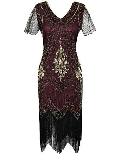 kayamiya Women's Great Gatsby Dress 1920s Sequins Art Deco Flapper Cocktail Dress with Sleeve 3XL Gold Burgundy]()