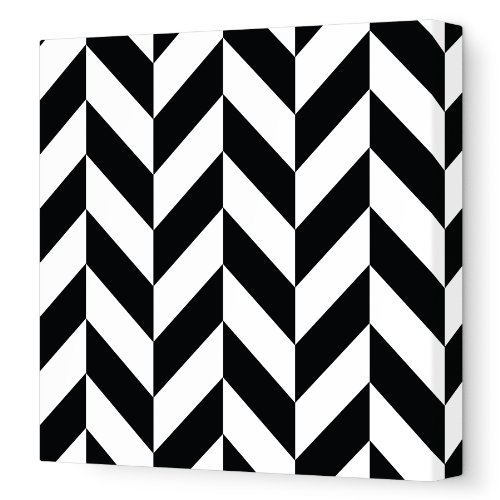 Avalisa Stretched Canvas Nursery Wall Art, Pattern 220, Black, 18