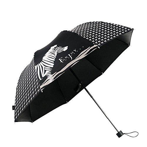 White Summer Womens Parasol Zebra Style Sunny Rainy Ultraviolet-Proof Rain Umbrella by Umbrella Compact