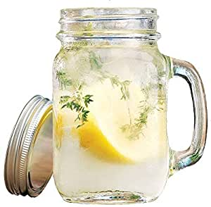 glass drinking Mason jar with lid and handle