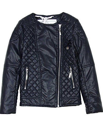 Le Chic Girl's Quilted Pleather Jacket in Navy, Sizes 4-14 - 14/164 by Le Chic