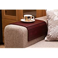 Wine Red Sofa Side Tray Table - Wood Armrest Tray – Sofa Tray Table - Surface For Coffee/Meals/Laptop - 22.5 x 14