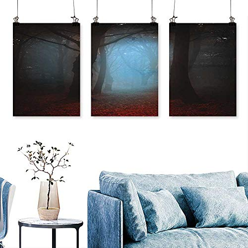 SCOCICI1588 3pcs Triptych Dark Autumnal Forest in a Foggy Day a Concept for Book and Music Albums Covers Art Home Decor No Frame 24 INCH X 40 INCH X 3PCS