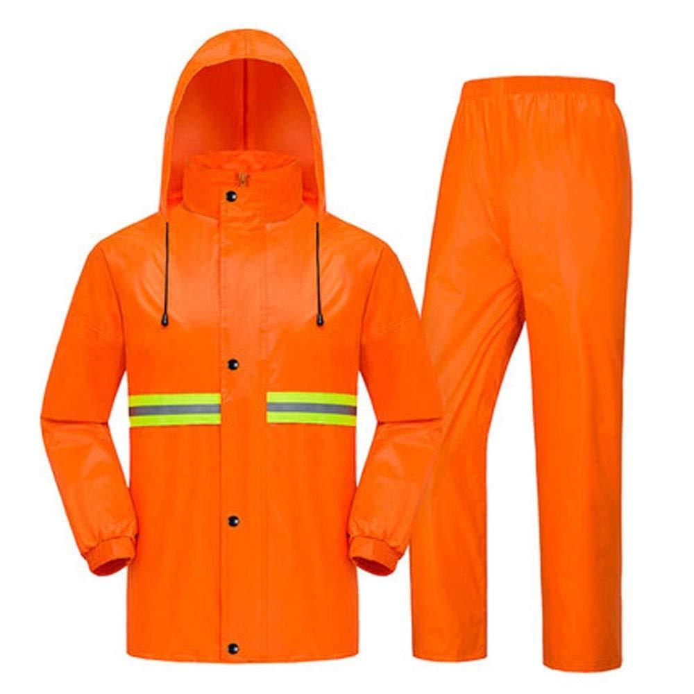 Raincoat Waterproof Poncho -Safety Reflective Clothing Wide Night Light Sanitation Raincoat Double Thick Adult Men and Women Takeaway Electric Car Raincoat Set Orange (Size : 2XL-Orange)