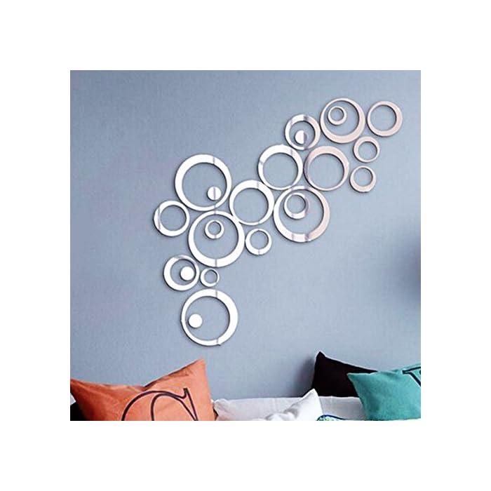 51pzk9fSWHL ❤ 24pcs Pegatinas Decorativas Pared Baño Espejos Adhesivos Calcomanías Material Acrílico Decoración Salón Hogar Oficina ❤ Dimensión: Diámetro desde 2,9cm hasta 14,4cm(6 tamaños). Cada tamaño contiene con 4 pcs pegatinas. 24pcs en total. Espesor: 0,9mm. ❤ Vinilos de pegatina con efecto espejo para decorar superficies lisas y limpias.