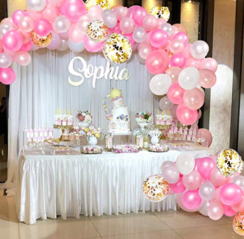 CADNLY Pink Balloons Garland Set - 115-Piece Light Pink, White and Gold Balloon Set for Birthday Party Decorations - Hot and Pastel Pink Latex Baby Girl Baby Shower Supplies - DIY Large Balloon Arch (Girl Baby Shower Themes Pink And Purple)