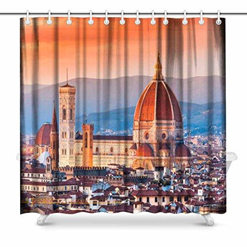 80OFF InterestPrint Florence Sunset Skyline View Polyester Fabric Bathroom Shower Curtain Set